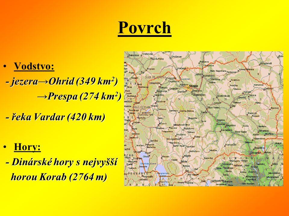 Povrch Vodstvo: - -- - jezera→Ohrid (349 km2) →Prespa (274 km2) - řeka Vardar (420 km) Hory: - Dinárské hory s nejvyšší horou Korab (2764 m)