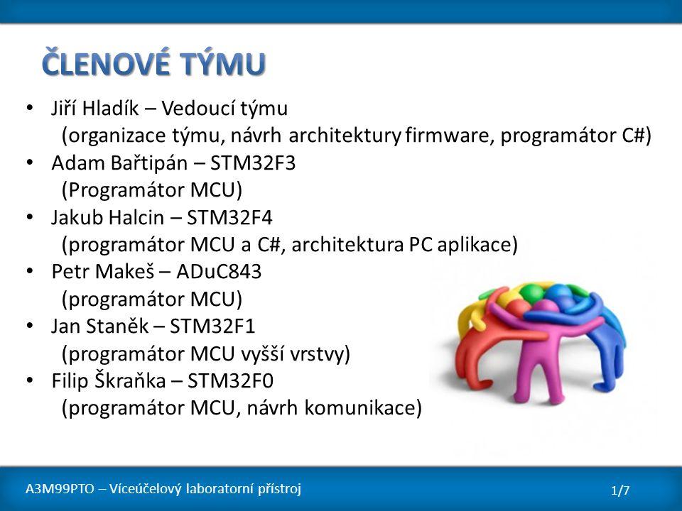 Jiří Hladík – Vedoucí týmu (organizace týmu, návrh architektury firmware, programátor C#) Adam Bařtipán – STM32F3 (Programátor MCU) Jakub Halcin – STM