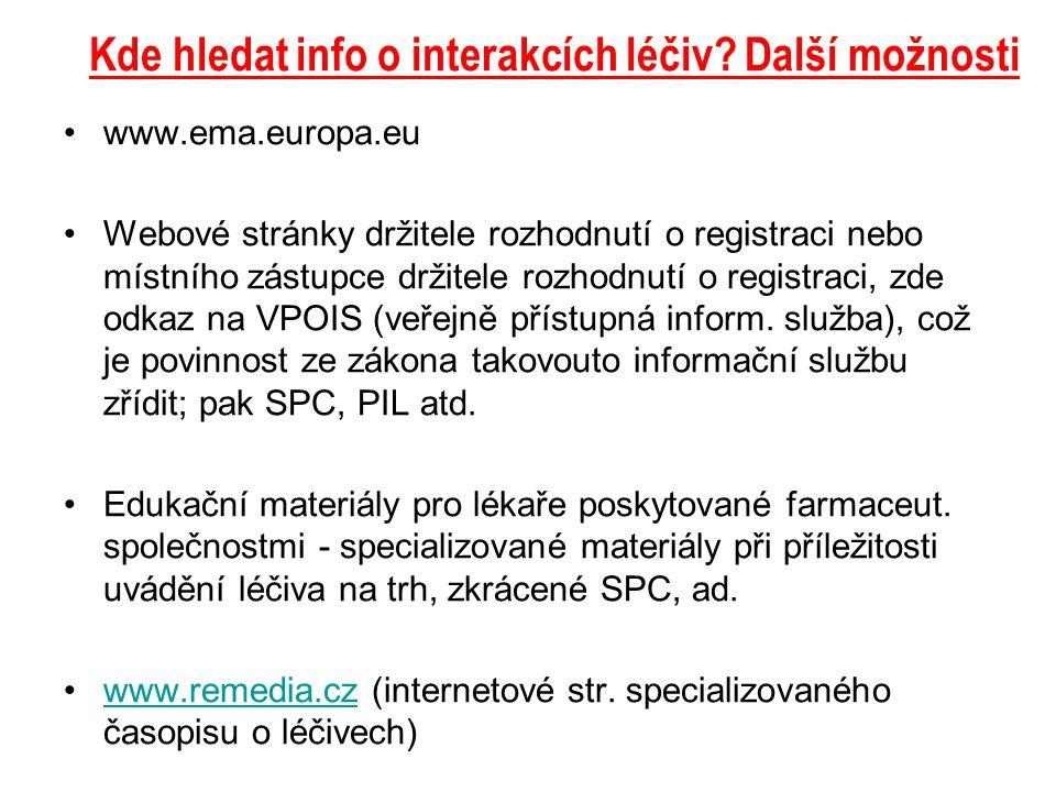 Kde hledat info o interakcích léčiv? Další možnosti www.ema.europa.eu Webové stránky držitele rozhodnutí o registraci nebo místního zástupce držitele