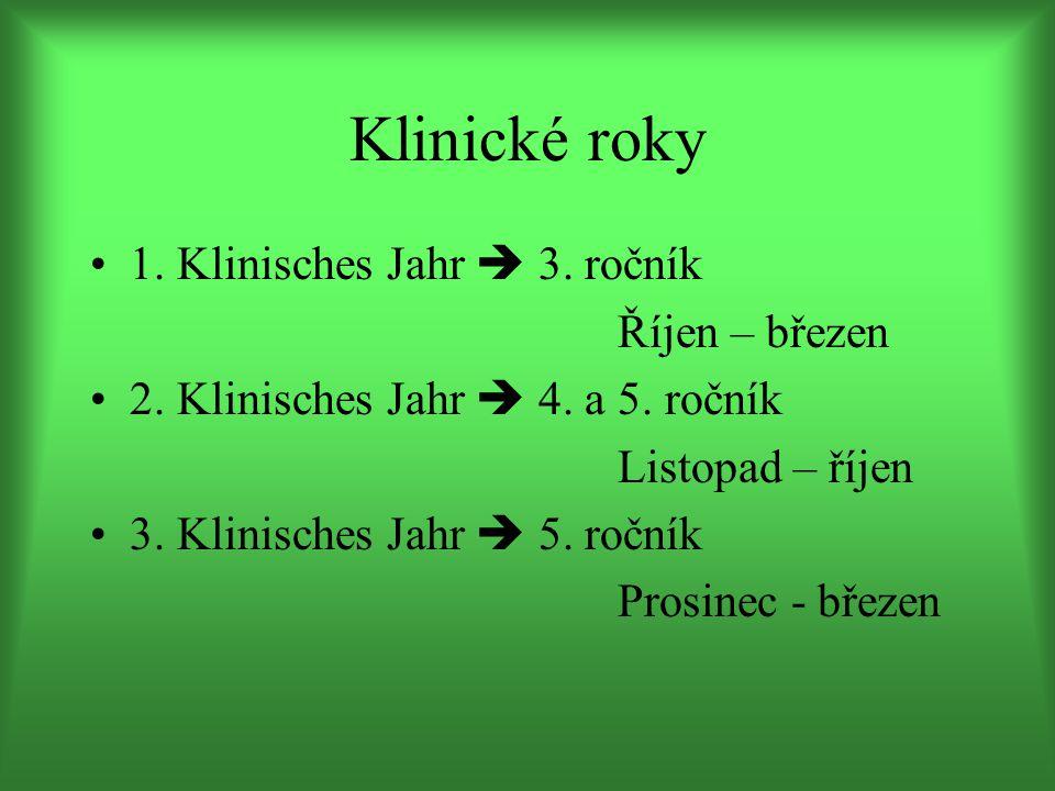 2. klinisches Jahr Teoretická část – listopad-březen Přednášky Zkoušky – formou testů na počítači
