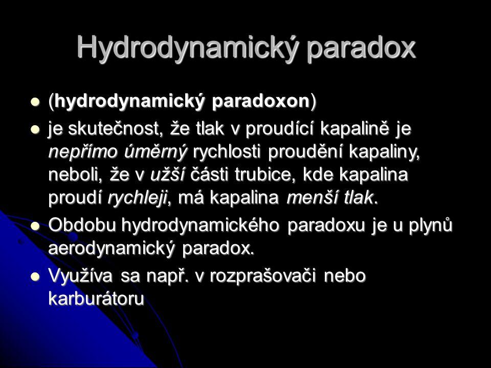 Hydrodynamický paradox (hydrodynamický paradoxon) (hydrodynamický paradoxon) je skutečnost, že tlak v proudící kapalině je nepřímo úměrný rychlosti proudění kapaliny, neboli, že v užší části trubice, kde kapalina proudí rychleji, má kapalina menší tlak.