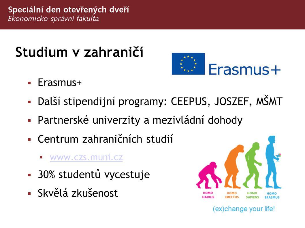 Studium v zahraničí  Erasmus+  Další stipendijní programy: CEEPUS, JOSZEF, MŠMT  Partnerské univerzity a mezivládní dohody  Centrum zahraničních s