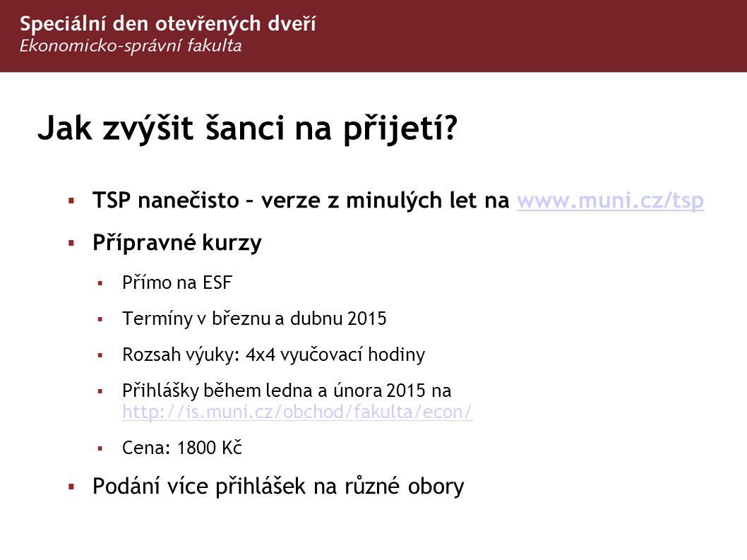 Jak zvýšit šanci na přijetí?  TSP nanečisto – verze z minulých let na www.muni.cz/tspwww.muni.cz/tsp  Přípravné kurzy  Přímo na ESF  Termíny v bře