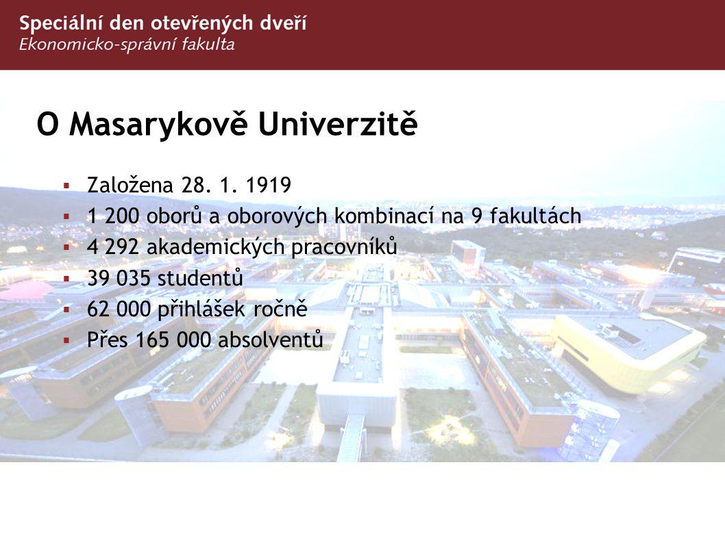 O Masarykově Univerzitě  Založena 28. 1. 1919  1 200 oborů a oborových kombinací na 9 fakultách  4 292 akademických pracovníků  39 035 studentů 