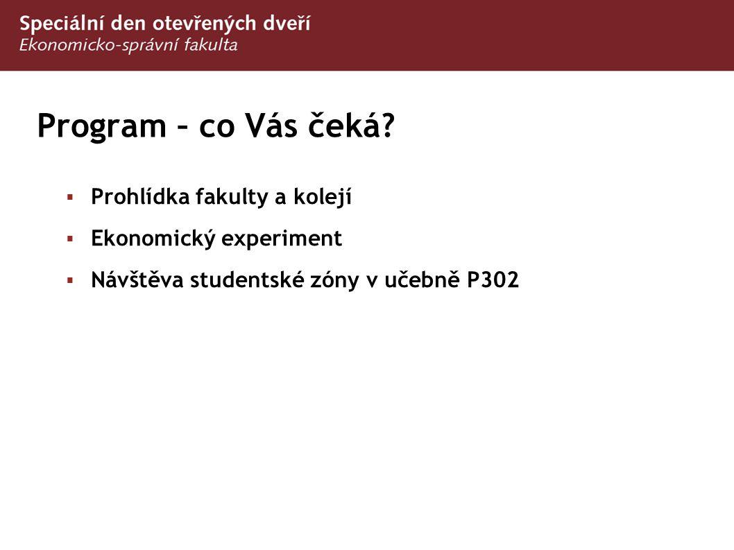 Program – co Vás čeká?  Prohlídka fakulty a kolejí  Ekonomický experiment  Návštěva studentské zóny v učebně P302