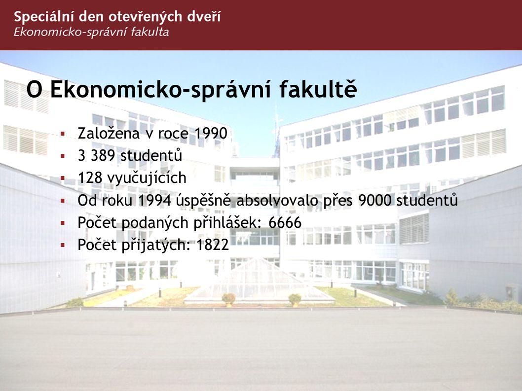 O Ekonomicko-správní fakultě  Založena v roce 1990  3 389 studentů  128 vyučujících  Od roku 1994 úspěšně absolvovalo přes 9000 studentů  Počet p