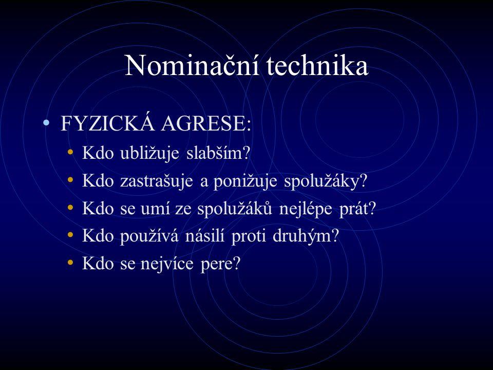 Nominační technika FYZICKÁ AGRESE: Kdo ubližuje slabším? Kdo zastrašuje a ponižuje spolužáky? Kdo se umí ze spolužáků nejlépe prát? Kdo používá násilí