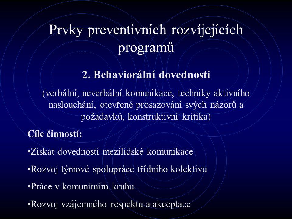 Prvky preventivních rozvíjejících programů 2. Behaviorální dovednosti (verbální, neverbální komunikace, techniky aktivního naslouchání, otevřené prosa