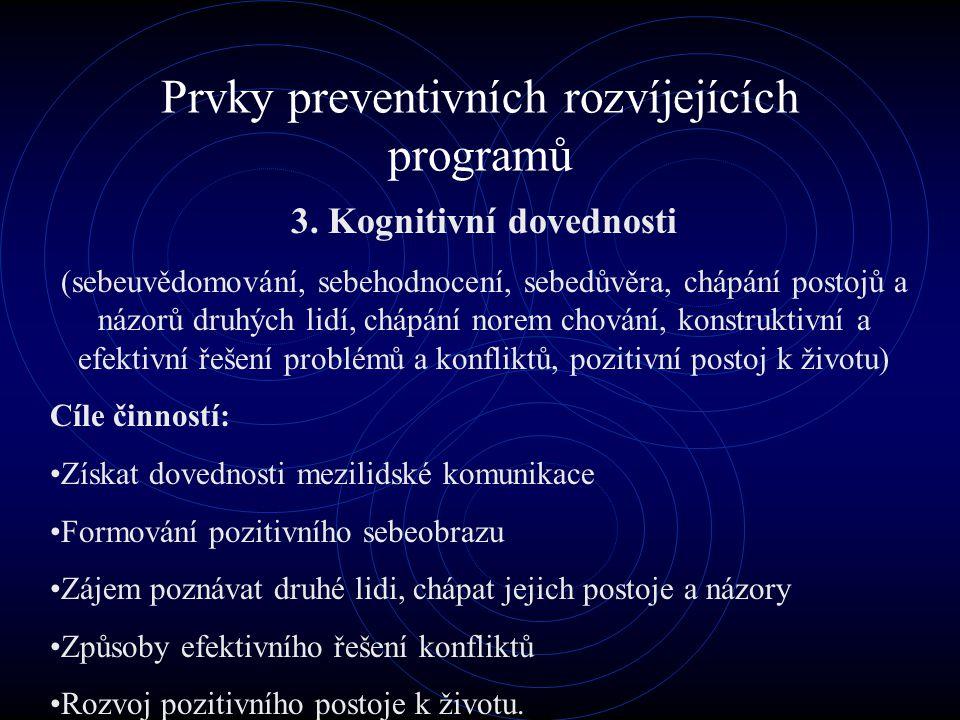 Prvky preventivních rozvíjejících programů 3. Kognitivní dovednosti (sebeuvědomování, sebehodnocení, sebedůvěra, chápání postojů a názorů druhých lidí
