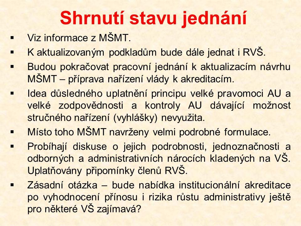 Shrnutí stavu jednání  Viz informace z MŠMT.  K aktualizovaným podkladům bude dále jednat i RVŠ.