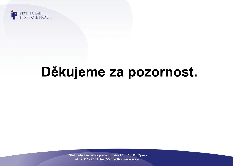Děkujeme za pozornost. Státní úřad inspekce práce, Kolářská 13, 746 01 Opava tel.: 950 179 101, fax: 553626672, www.suip.cz
