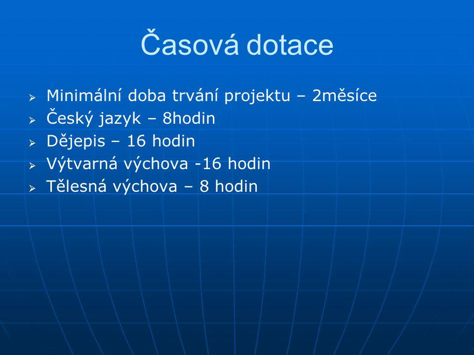Časová dotace   Minimální doba trvání projektu – 2měsíce   Český jazyk – 8hodin   Dějepis – 16 hodin   Výtvarná výchova -16 hodin   Tělesná výchova – 8 hodin
