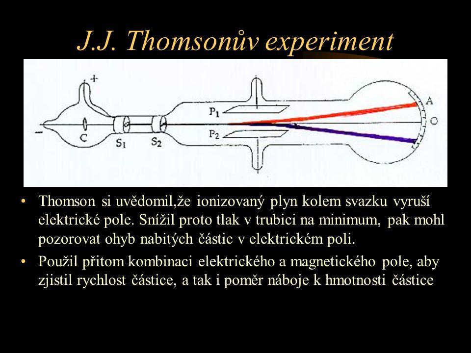 J.J. Thomsonův experiment Thomson si uvědomil,že ionizovaný plyn kolem svazku vyruší elektrické pole. Snížil proto tlak v trubici na minimum, pak mohl