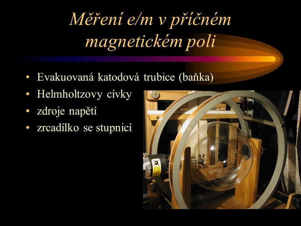 Měření e/m v příčném magnetickém poli Evakuovaná katodová trubice (baňka) Helmholtzovy cívky zdroje napětí zrcadílko se stupnicí