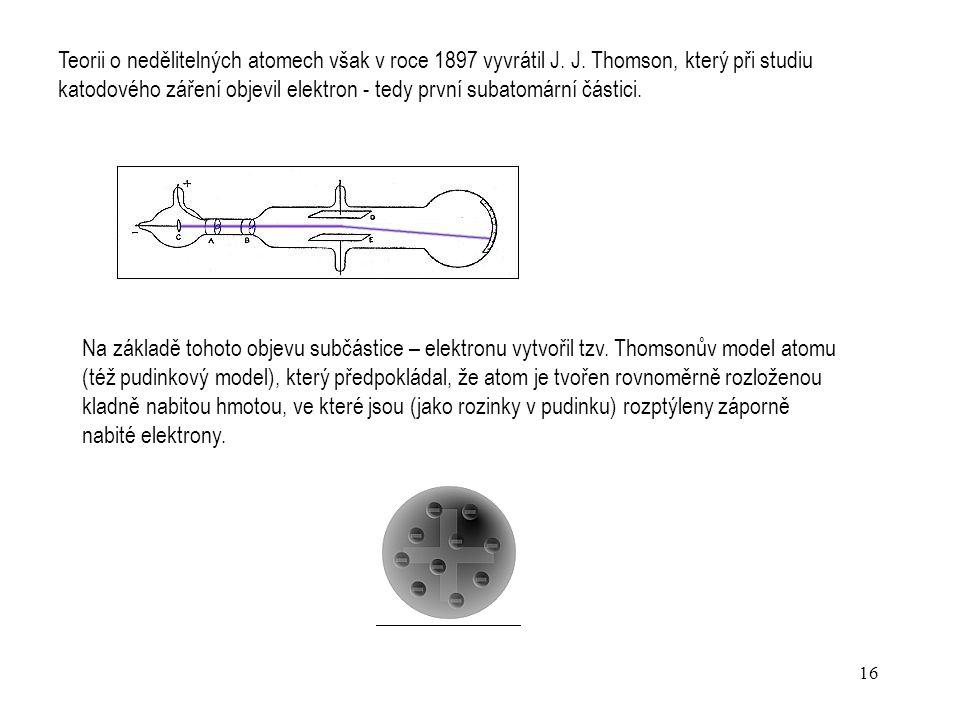 15 Katodové záření - proud elektronů vycházející z katody katodové trubice. Zkoumání katodového záření a experimenty s katodovou trubicí sehrály význa