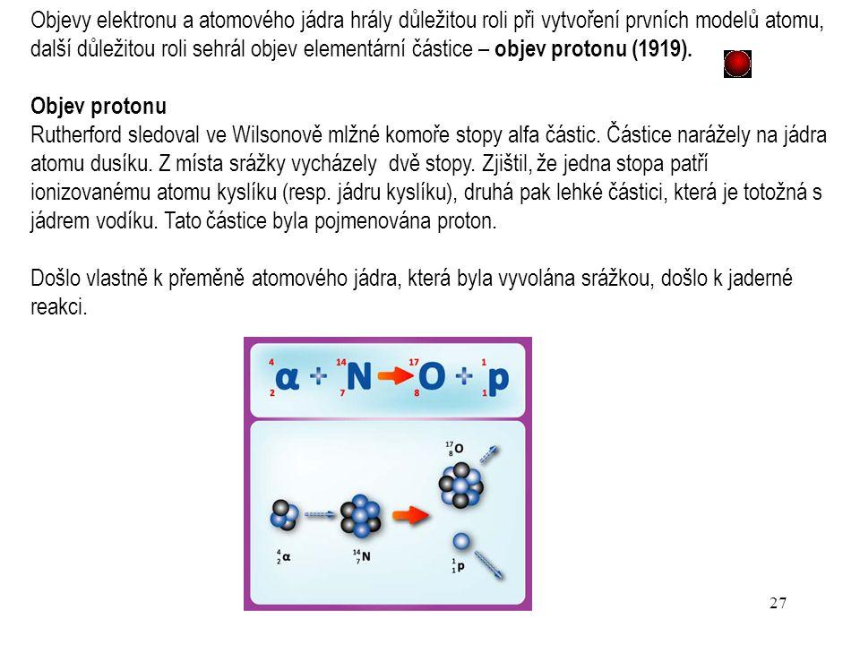 26 Závěry: Atom se skládá z malého, kladně nabitého jádra, ve kterém je soustředěna téměř veškerá hmotnost atomu, zabírá však minimální zlomek jeho ce