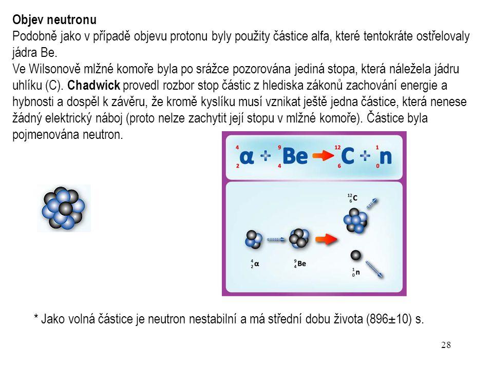 27 Objevy elektronu a atomového jádra hrály důležitou roli při vytvoření prvních modelů atomu, další důležitou roli sehrál objev elementární částice –
