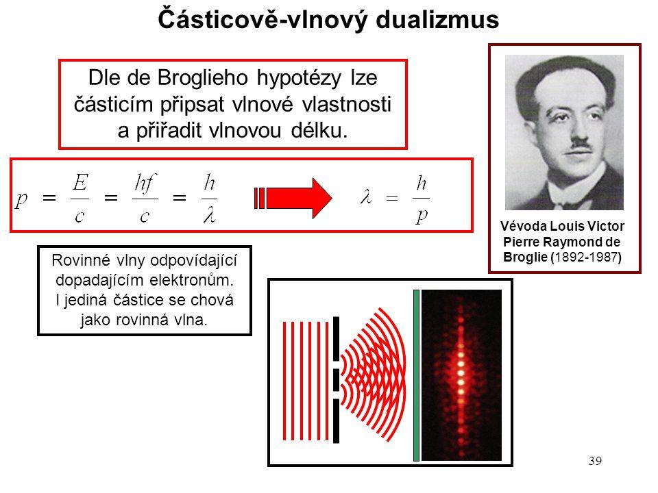 38 Počátky kvantové mechaniky Z čeho se skládá hmota? Z částic, nebo vlnění? Vévoda Louis Victor Pierre Raymond de Broglie (1892-1987) Ve vesmíru jsou