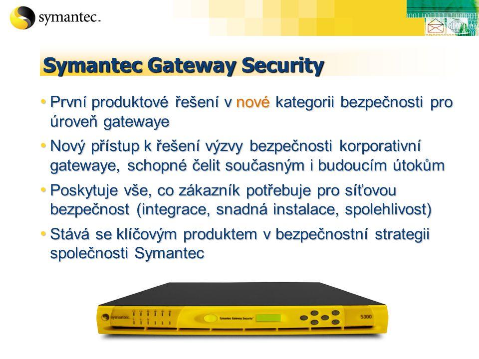 Symantec Gateway Security První produktové řešení v nové kategorii bezpečnosti pro úroveň gatewaye První produktové řešení v nové kategorii bezpečnosti pro úroveň gatewaye Nový přístup k řešení výzvy bezpečnosti korporativní gatewaye, schopné čelit současným i budoucím útokům Nový přístup k řešení výzvy bezpečnosti korporativní gatewaye, schopné čelit současným i budoucím útokům Poskytuje vše, co zákazník potřebuje pro síťovou bezpečnost (integrace, snadná instalace, spolehlivost) Poskytuje vše, co zákazník potřebuje pro síťovou bezpečnost (integrace, snadná instalace, spolehlivost) Stává se klíčovým produktem v bezpečnostní strategii společnosti Symantec Stává se klíčovým produktem v bezpečnostní strategii společnosti Symantec
