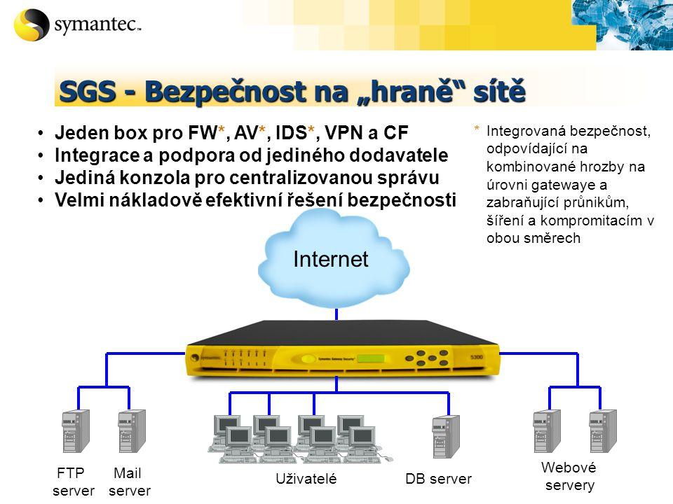 """SGS - Bezpečnost na """"hraně sítě Mail server Uživatelé DB server FTP server Webové servery Internet Jeden box pro FW*, AV*, IDS*, VPN a CF Integrace a podpora od jediného dodavatele Jediná konzola pro centralizovanou správu Velmi nákladově efektivní řešení bezpečnosti * Integrovaná bezpečnost, odpovídající na kombinované hrozby na úrovni gatewaye a zabraňující průnikům, šíření a kompromitacím v obou směrech"""