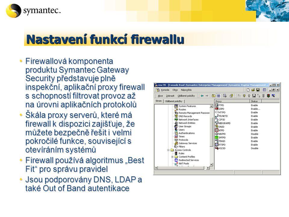 """Nastavení funkcí firewallu Firewallová komponenta produktu Symantec Gateway Security představuje plně inspekční, aplikační proxy firewall s schopností filtrovat provoz až na úrovni aplikačních protokolů Firewallová komponenta produktu Symantec Gateway Security představuje plně inspekční, aplikační proxy firewall s schopností filtrovat provoz až na úrovni aplikačních protokolů Škála proxy serverů, které má firewall k dispozici zajišťuje, že můžete bezpečně řešit i velmi pokročilé funkce, související s otevíráním systémů Škála proxy serverů, které má firewall k dispozici zajišťuje, že můžete bezpečně řešit i velmi pokročilé funkce, související s otevíráním systémů Firewall používá algoritmus """"Best Fit pro správu pravidel Firewall používá algoritmus """"Best Fit pro správu pravidel Jsou podporovány DNS, LDAP a také Out of Band autentikace Jsou podporovány DNS, LDAP a také Out of Band autentikace"""