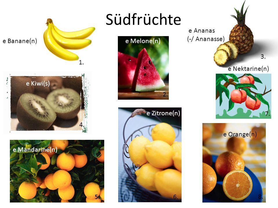 Südfrüchte e Melone(n) e Kiwi(s) e Mandarine(n) e Zitrone(n) e Orange(n) e Nektarine(n) e Ananas (-/ Ananasse) e Banane(n) 1.