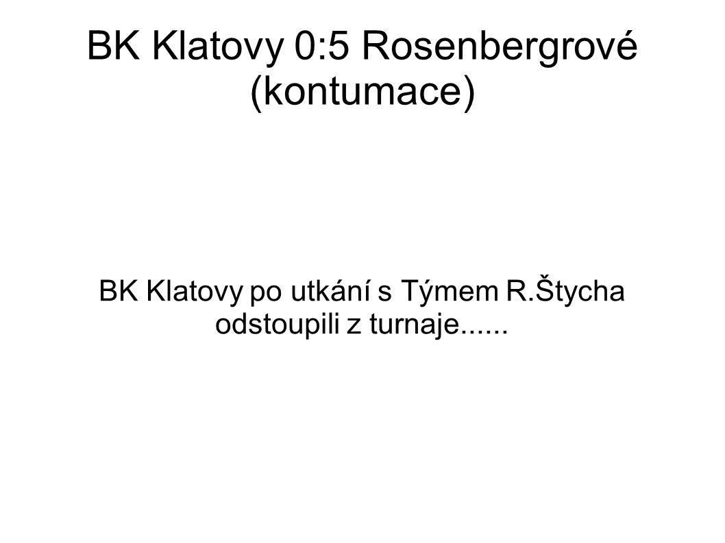 BK Klatovy 0:5 Rosenbergrové (kontumace) BK Klatovy po utkání s Týmem R.Štycha odstoupili z turnaje......