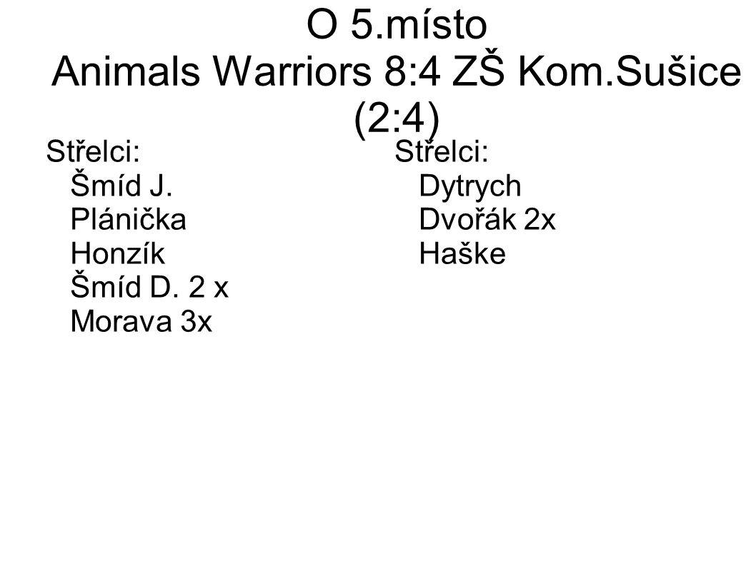 O 5.místo Animals Warriors 8:4 ZŠ Kom.Sušice (2:4) Střelci: Šmíd J.