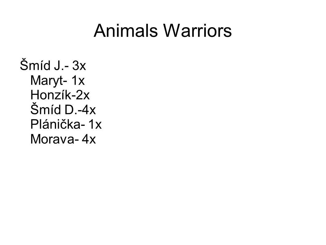 Animals Warriors Šmíd J.- 3x Maryt- 1x Honzík-2x Šmíd D.-4x Plánička- 1x Morava- 4x
