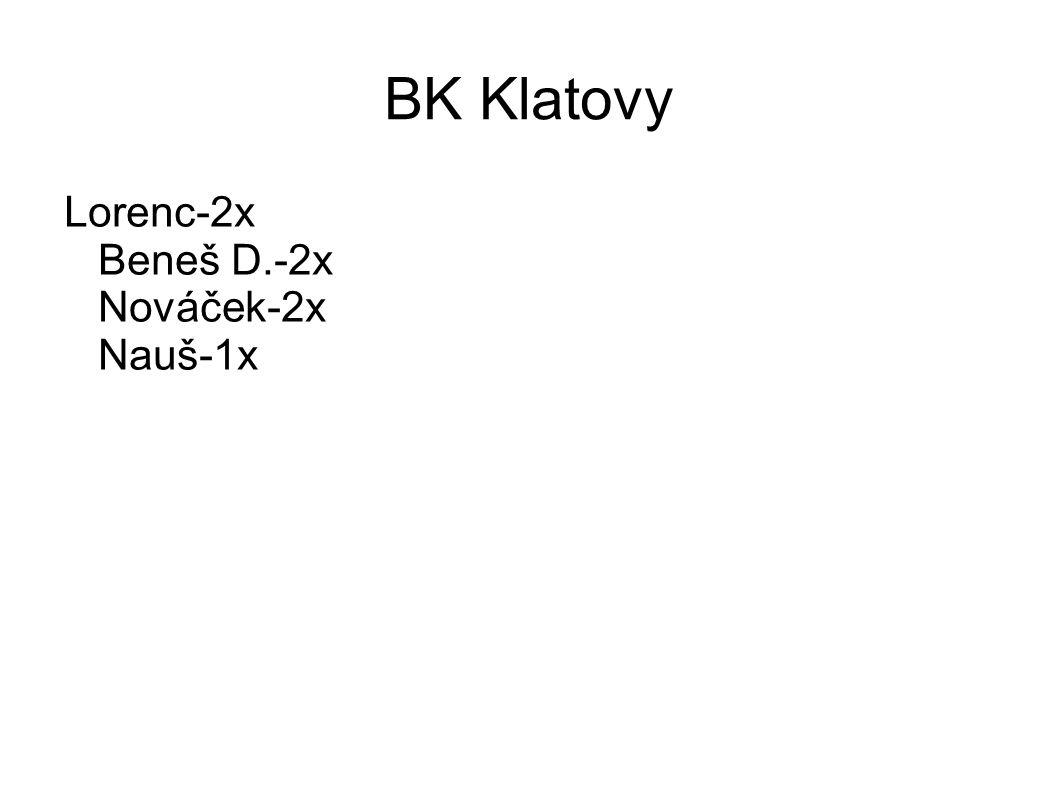 BK Klatovy Lorenc-2x Beneš D.-2x Nováček-2x Nauš-1x
