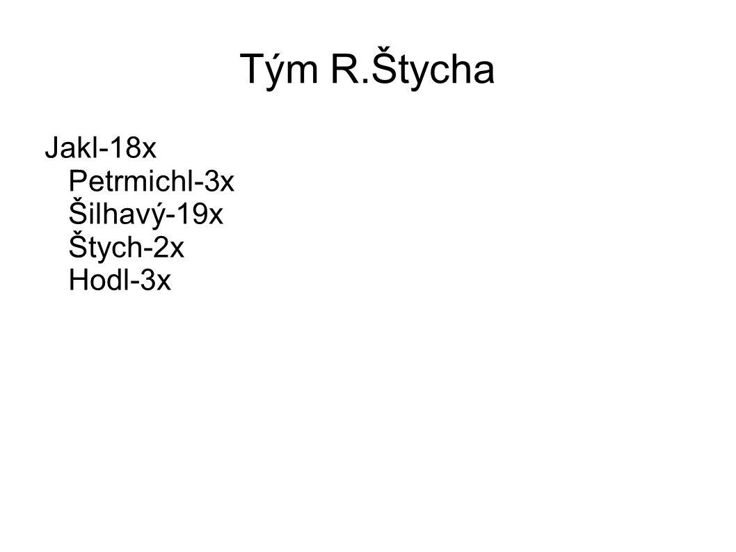 Tým R.Štycha Jakl-18x Petrmichl-3x Šilhavý-19x Štych-2x Hodl-3x