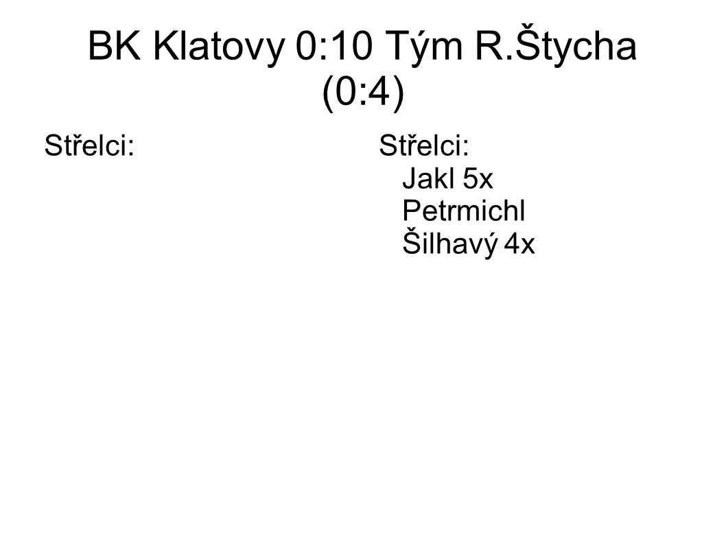 BK Klatovy 0:10 Tým R.Štycha (0:4) Střelci:Střelci: Jakl 5x Petrmichl Šilhavý 4x