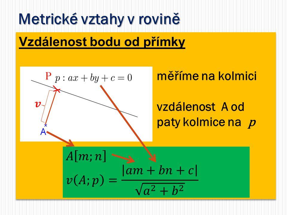Metrické vztahy v rovině Vzdálenost bodu od přímky měříme na kolmici vzdálenost A od paty kolmice na p P