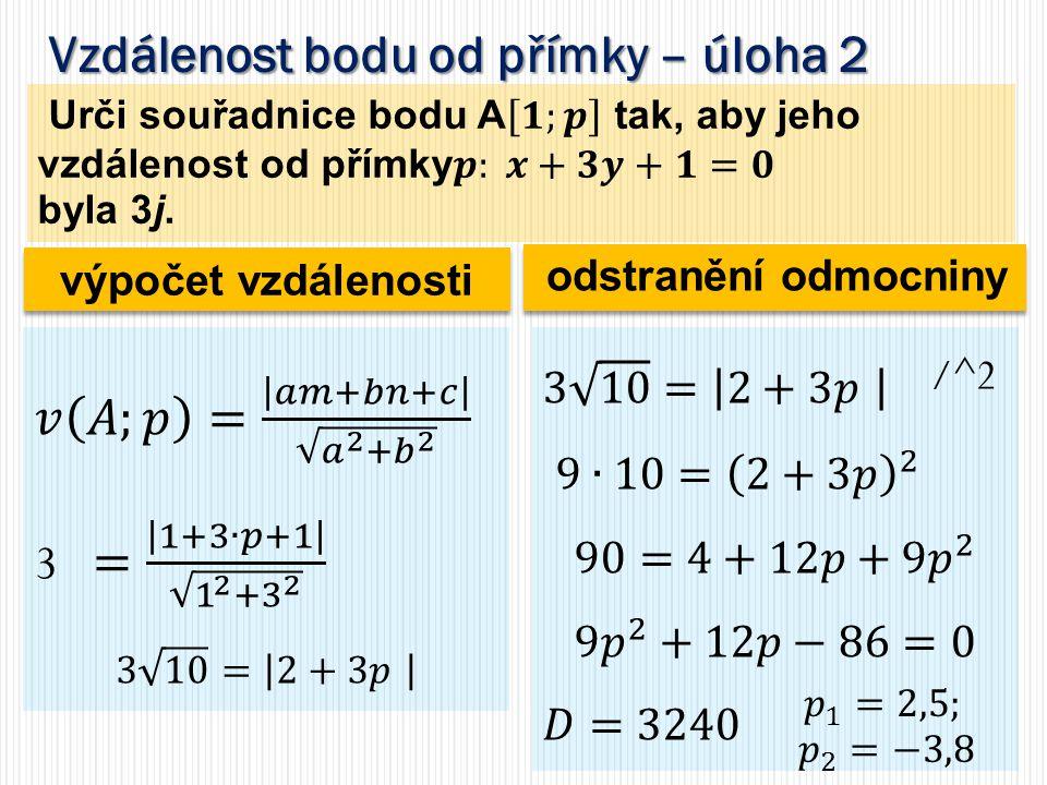 Vzdálenost rovnoběžek – úloha 1