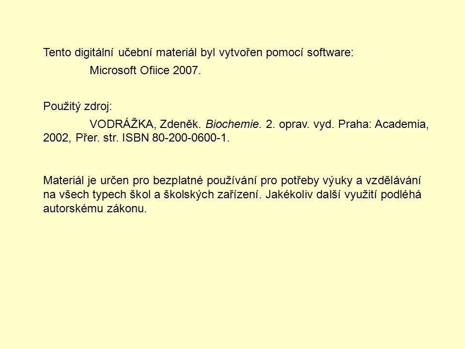 Tento digitální učební materiál byl vytvořen pomocí software: Microsoft Ofiice 2007.