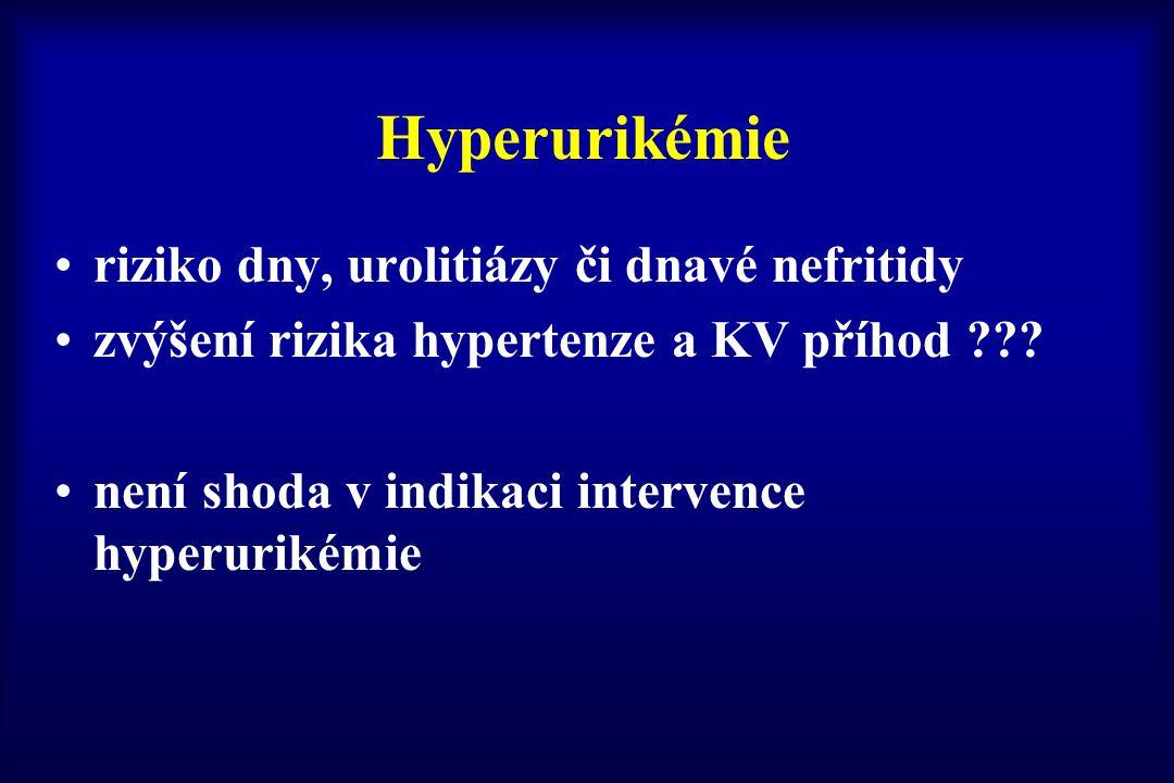 Hyperurikémie riziko dny, urolitiázy či dnavé nefritidy zvýšení rizika hypertenze a KV příhod ??? není shoda v indikaci intervence hyperurikémie