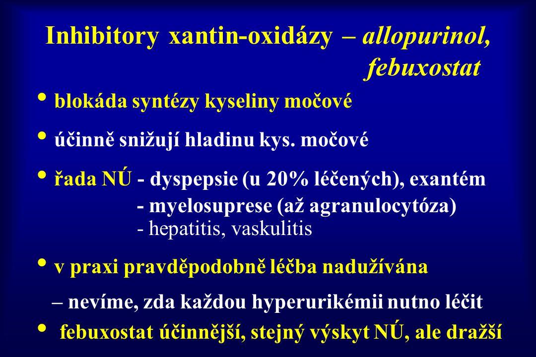 Inhibitory xantin-oxidázy – allopurinol, febuxostat blokáda syntézy kyseliny močové účinně snižují hladinu kys. močové řada NÚ - dyspepsie (u 20% léče