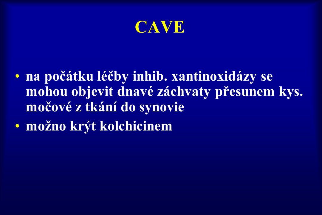 CAVE na počátku léčby inhib. xantinoxidázy se mohou objevit dnavé záchvaty přesunem kys. močové z tkání do synovie možno krýt kolchicinem