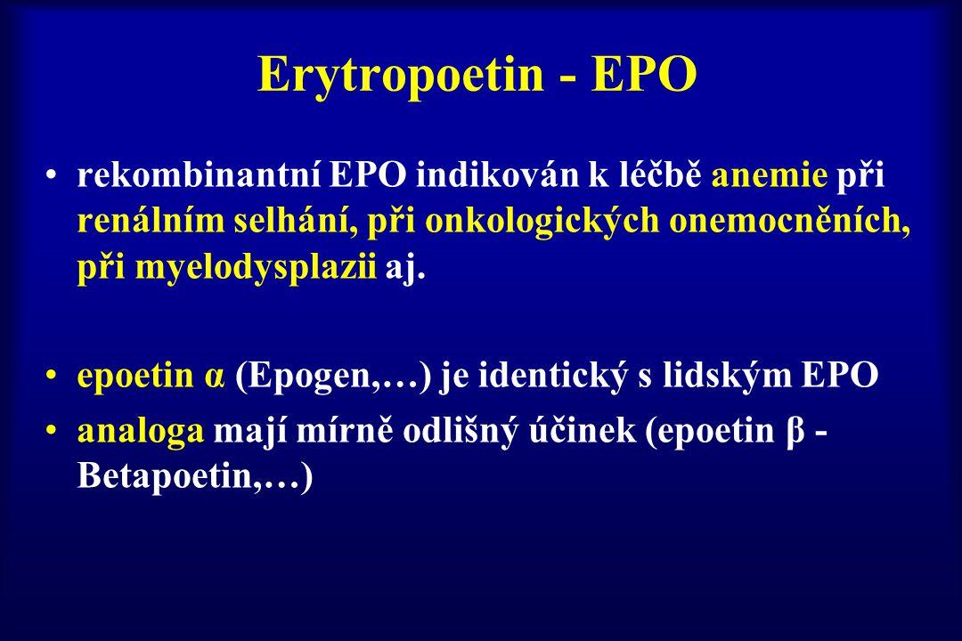 Erytropoetin - EPO rekombinantní EPO indikován k léčbě anemie při renálním selhání, při onkologických onemocněních, při myelodysplazii aj. epoetin α (