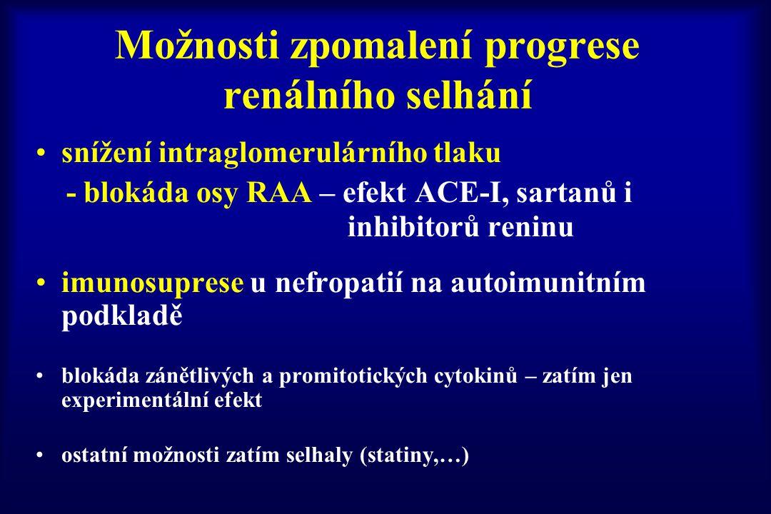 snížení intraglomerulárního tlaku - blokáda osy RAA – efekt ACE-I, sartanů i inhibitorů reninu imunosuprese u nefropatií na autoimunitním podkladě blo