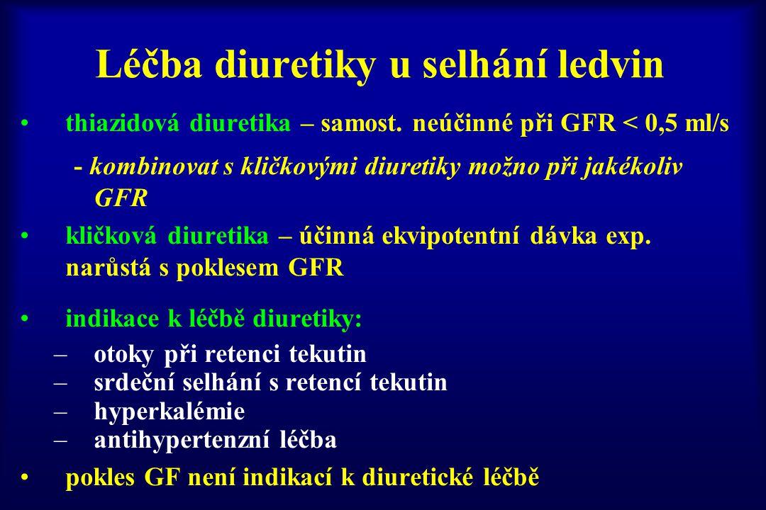 Léčba diuretiky u selhání ledvin thiazidová diuretika – samost. neúčinné při GFR < 0,5 ml/s - kombinovat s kličkovými diuretiky možno při jakékoliv GF