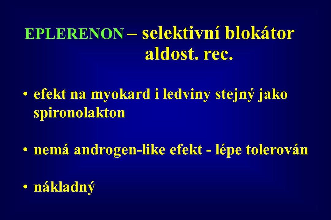 efekt na myokard i ledviny stejný jako spironolakton nemá androgen-like efekt - lépe tolerován nákladný EPLERENON – selektivní blokátor aldost. rec.