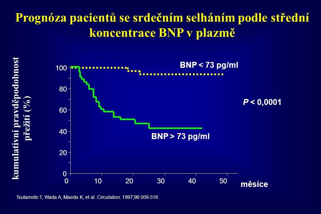 Prognóza pacientů se srdečním selháním podle střední koncentrace BNP v plazmě Tsutamoto T, Wada A, Maeda K, et al. Circulation. 1997;96:509-516 0 20 4