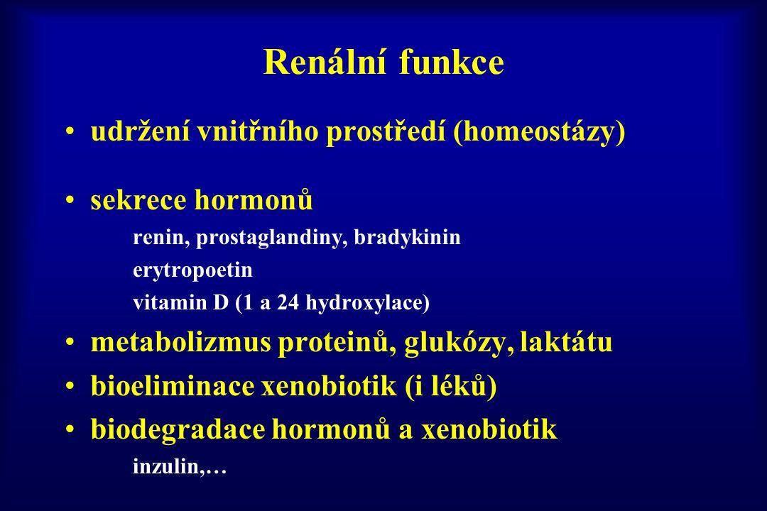 Renální funkce udržení vnitřního prostředí (homeostázy) sekrece hormonů renin, prostaglandiny, bradykinin erytropoetin vitamin D (1 a 24 hydroxylace)