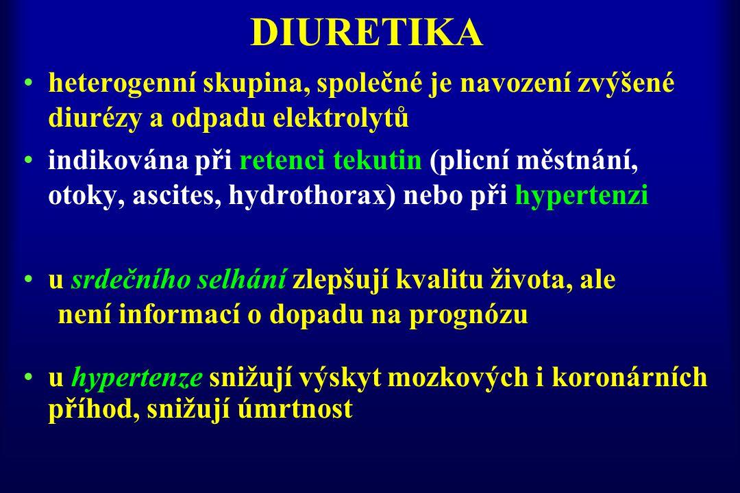 DIURETIKA heterogenní skupina, společné je navození zvýšené diurézy a odpadu elektrolytů indikována při retenci tekutin (plicní městnání, otoky, ascit