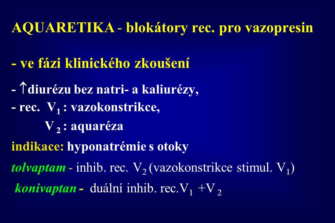 AQUARETIKA - blokátory rec. pro vazopresin - ve fázi klinického zkoušení -  diurézu bez natri- a kaliurézy, - rec. V 1 : vazokonstrikce, V 2 : aquaré