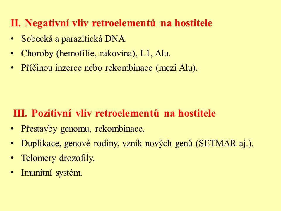 II.Negativní vliv retroelementů na hostitele Sobecká a parazitická DNA.