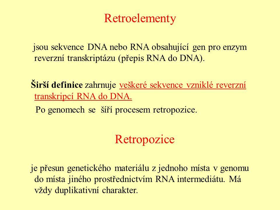 Retroelementy jsou sekvence DNA nebo RNA obsahující gen pro enzym reverzní transkriptázu (přepis RNA do DNA).