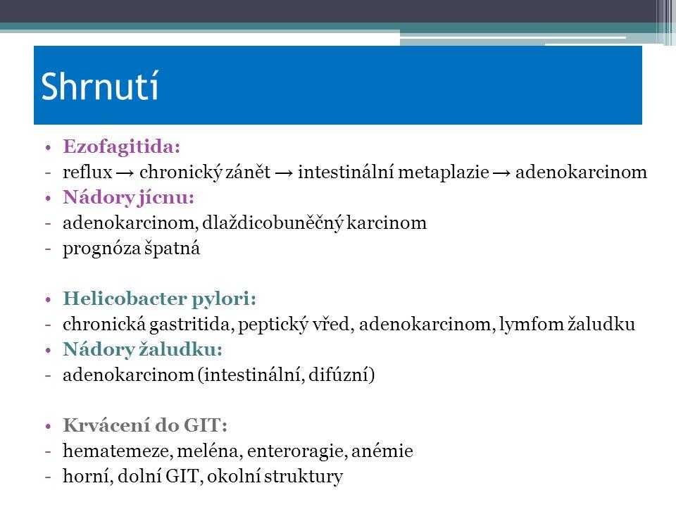 Shrnutí Ezofagitida: -reflux → chronický zánět → intestinální metaplazie → adenokarcinom Nádory jícnu: -adenokarcinom, dlaždicobuněčný karcinom -progn