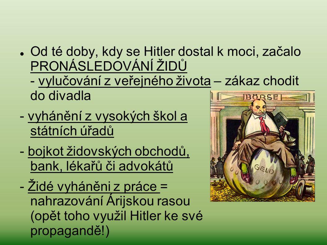 Od té doby, kdy se Hitler dostal k moci, začalo PRONÁSLEDOVÁNÍ ŽIDŮ - vylučování z veřejného života – zákaz chodit do divadla - vyhánění z vysokých šk